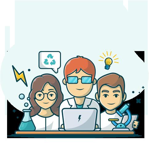 3 personnes dans un labo autour d'un laptop